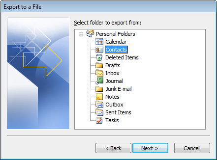 Contacts-Export-outlook