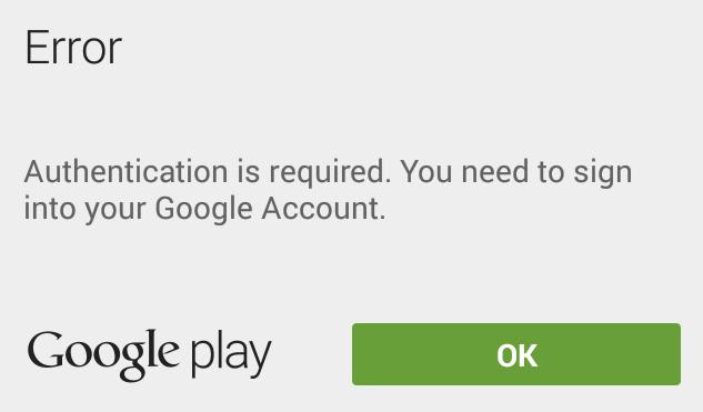 Cara Memperbaiki Error Diperlukan Autentikasi Google Play