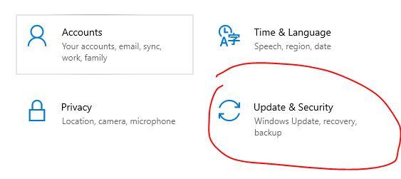 pilih update dan security