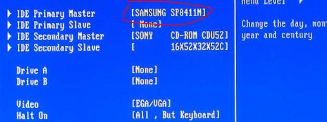 lihat info hardisk di BIOS