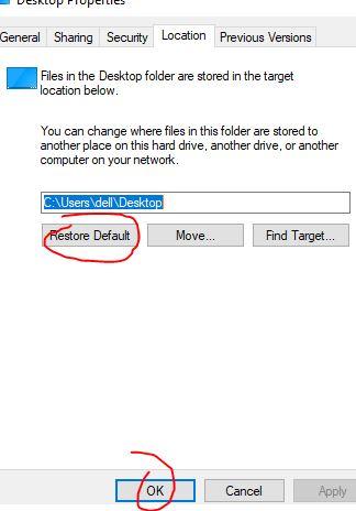 location dan pilih restore default