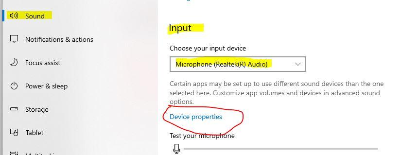 pada sound pilih microphone dan pilih device properties
